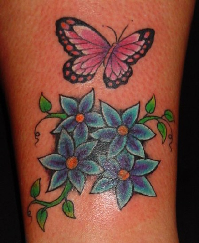 Butterfly and flower tattoos make a unique tattoo design for Butterfly tattoos gallery